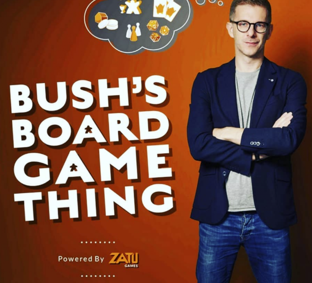 Image of Andy Bush with the words Andy Bush's Board Game Thing